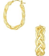 14k yellow gold braided hoop earrings