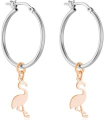 orecchini a cerchio flamingo rosato in argento rodiato per donna