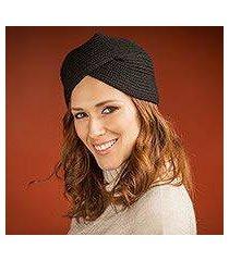 alpaca blend hat, 'ebonyturban' (peru)