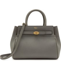mulberry small belted bayswater leather satchel - grey