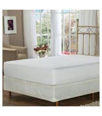 lençol de baixo king branco com elástico soft touch plumasul