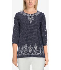 alfred dunner women's missy bryce canyon textured embroidered top