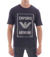 emporio armani cotton logo tee - blue navy 6g1te0-1j00z 922
