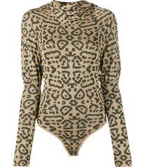 giuseppe di morabito animal jacquard-knit bodysuit - gold