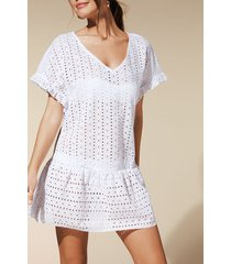 calzedonia broderie anglaise dress woman white size s