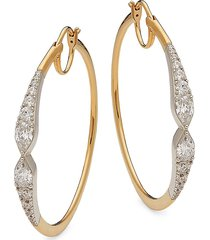 adriana orsini women's goldtone, rhodium-plated sterling silver & crystal hoop earrings