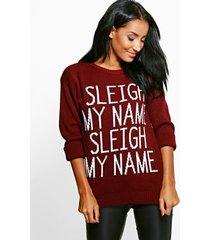 sleigh my name slogan christmas sweater, wine