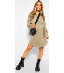 zwangerschaps sweatshirt jurk met ceintuur, kaki