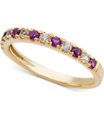 amethyst (1/5 ct. t.w.) and diamond (1/6 ct. t.w.) ring in 14k gold