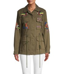 alina embroidered twill military jacket