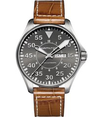 men's hamilton khaki aviation automatic leather strap watch, 46mm