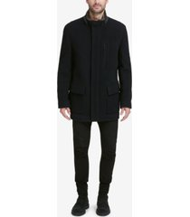 cole haan men's plush coat with faux-fur trim