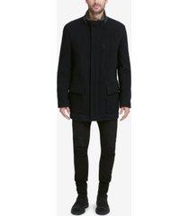 cole haan men's plush coat with faux-fur trim