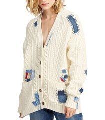 sweater patchwork boyfriend blanco polo ralph lauren