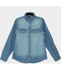 camisa jeans malwee botão manga longa feminina