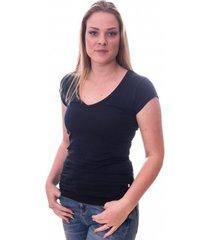 claesens women t-shirt v-neck s/s blue navy( cl 8010 )