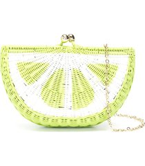serpui lime straw clutch bag - green