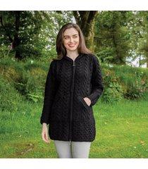 black hooded irish aran zipper coat small