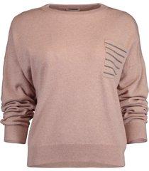 stripe monili bead crewneck pullover sweater
