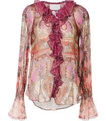 camilla lotus lovers paisley draped blouse - pink