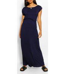 maternity cap sleeve shirred waist maxi dress, navy