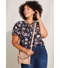maurices plus size womens black floral grommet neck blouse