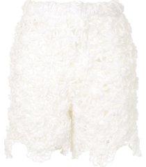 comme des garçons pre-owned crochet mini shorts - white