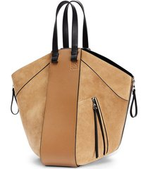 hammock tote bag in suede and calfskin