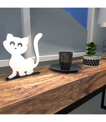escultura de mesa adorno gatinho simpático companheiro branco único