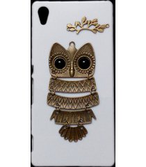 cute retro bronze metal owl branch hard back skin case cover for sony xperia z4