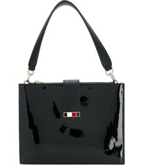 tommy hilfiger patent statement shoulder bag - black