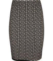 balmain mid-length motif print skirt