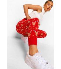 gebreide rendier kerst leggings, red