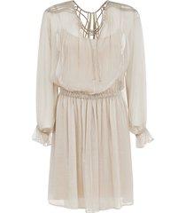 alberta ferretti elastic waist laced dress