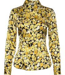 silk stretch satin blouse lange mouwen geel ganni