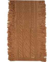 women's michael kors soft fringe super cable scarf, size one size - beige