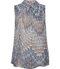 3392 - prosi top blouse mouwloos blauw sand
