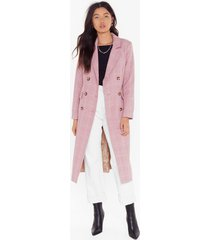 womens not a longline check double breasted coat - pink