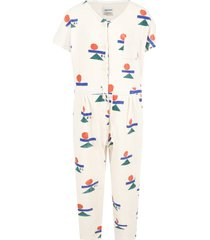 bobo choses ivory jumpsuit for girl with logos