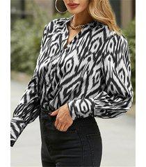 camicetta casual da donna con bottoni con scollo a v manica lunga stampa