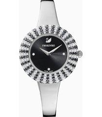 orologio crystal rose, bracciale di metallo, nero, acciaio inossidabile