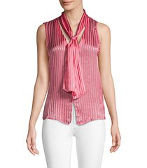 gwenda striped sleeveless tieneck blouse