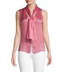 gwenda striped sleeveless tieneck blouse
