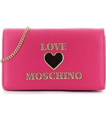 love moschino fuchsia clutch with logo