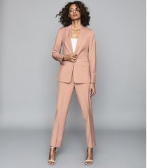 reiss anya - wool blend tailored blazer in pink, womens, size 12
