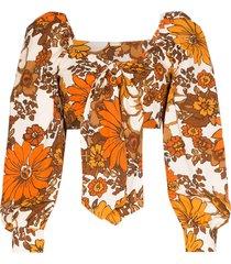 dodo bar or biby floral tie-front top - orange