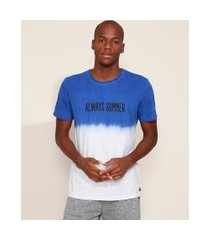 "camiseta masculina always summer"" com degradê manga curta gola careca branca"""
