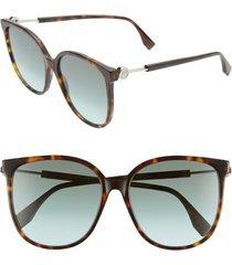 women's fendi 58mm cat eye sunglasses - dkhavana/ green aqua