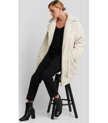 na-kd biker long teddy coat - offwhite