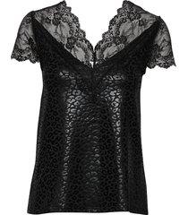 t-shirt ss blouses short-sleeved svart rosemunde